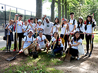 Exchange visitors volunteer at Cunningham Park