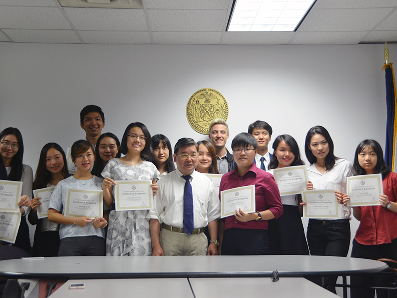 CCIP exchange visitors learn about local government from Councilman Koo...