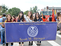 CCIP students march with NYC Comptroller Stringer in the Annual Ecuadorian Day Parade